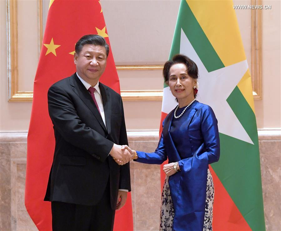 شي يلتقي أونغ سان سو تشي في ميانمار .jpg